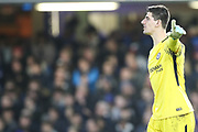 Thibaut Courtois (goalkeeper) of Chelsea instructs his teammates during the Premier League match between Chelsea and Stoke City at Stamford Bridge, London, England on 30 December 2017. Photo by Toyin Oshodi.