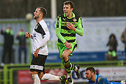 Forest Green Rovers Christian Doidge(9) scores and celebrates, 1-0 during the Vanarama National League match between Forest Green Rovers and Boreham Wood at the New Lawn, Forest Green, United Kingdom on 11 February 2017. Photo by Shane Healey.