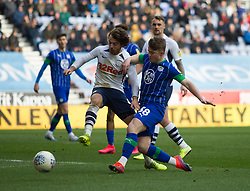 Ben Pearson of Preston North End (C) blocks a shot from Joe Gelhardt of Wigan Athletic - Mandatory by-line: Jack Phillips/JMP - 08/02/2020 - FOOTBALL - DW Stadium - Wigan, England - Wigan Athletic v Preston North End - English Football League Championship