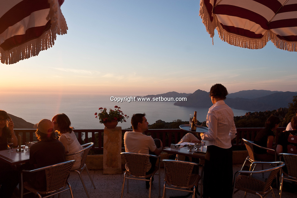 Corsica. France. Corsica. France. Calanches of Piana. Panoramic terrace of the hotel  les roches rouges   Corsica   France   / les calanques de Piana. panorama depuis l'hotel des roches rouges.  Corse   France
