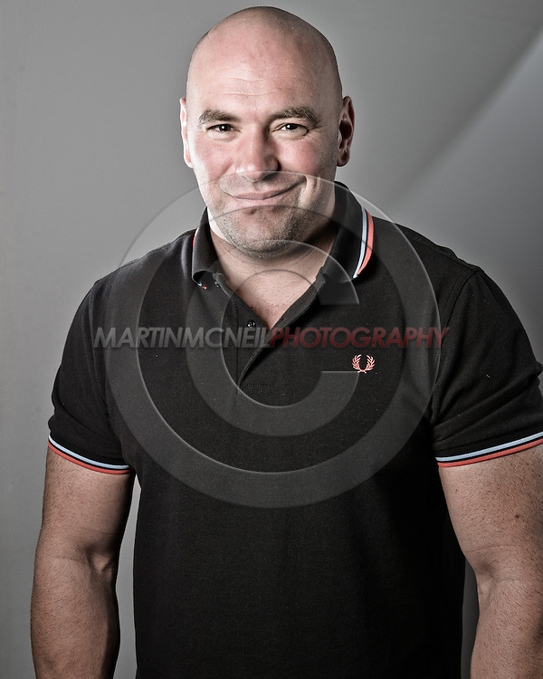 """NOTTINGHAM, ENGLAND, SEPTEMBER 27, 2012: A portrait Dana White of as taken at the pre-fight press conference ahead of """"UFC on Fuel TV: Struve vs. Miocic"""" inside the Hilton Hotel in Nottingham , United Kingdom on Thursday, Septermber 27, 2012 © Martin McNeil"""