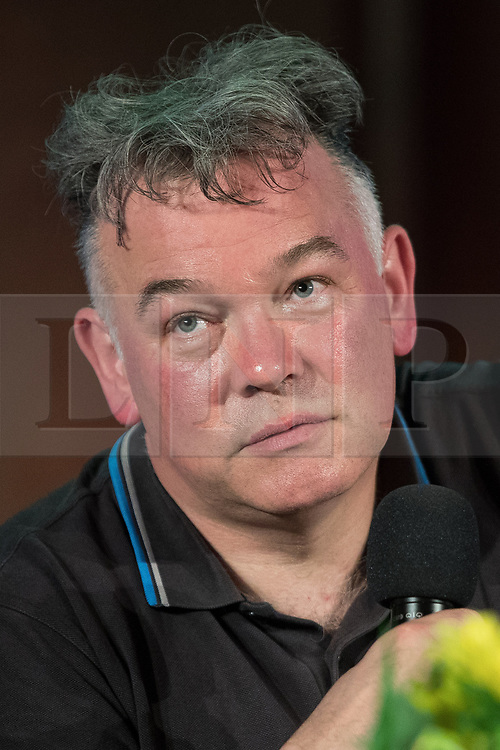 "© Licensed to London News Pictures. 05/07/2017. London, UK. Comedian STEWART LEE in conversation with Wikipedia founder Jimmy Wales at the Emmanuel Centre in Westminster . The event , titled "" Heroes "" and organised by the School of Life , sees a guest interviewer (Wales) select and interviews someone whose work they admire (Lee) . Stewart Lee is currently touring his Content Provider show and Jimmy Wales is in the process of setting up news website WikiTribune . Photo credit: Joel Goodman/LNP"