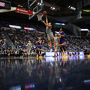 HARTFORD, CONNECTICUT- JANUARY 4: A general view as Gabby Williams #15 of the Connecticut Huskies scores two points in action during the UConn Huskies Vs East Carolina Pirates, NCAA Women's Basketball game on January 4th, 2017 at the XL Center, Hartford, Connecticut. (Photo by Tim Clayton/Corbis via Getty Images)