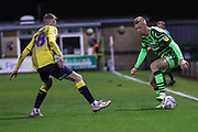 Forest Green Rovers Nathan McGinley(19) takes  on Coventry City's Josh Eccles(38) during the Leasing.com EFL Trophy match between Forest Green Rovers and Coventry City at the New Lawn, Forest Green, United Kingdom on 8 October 2019.