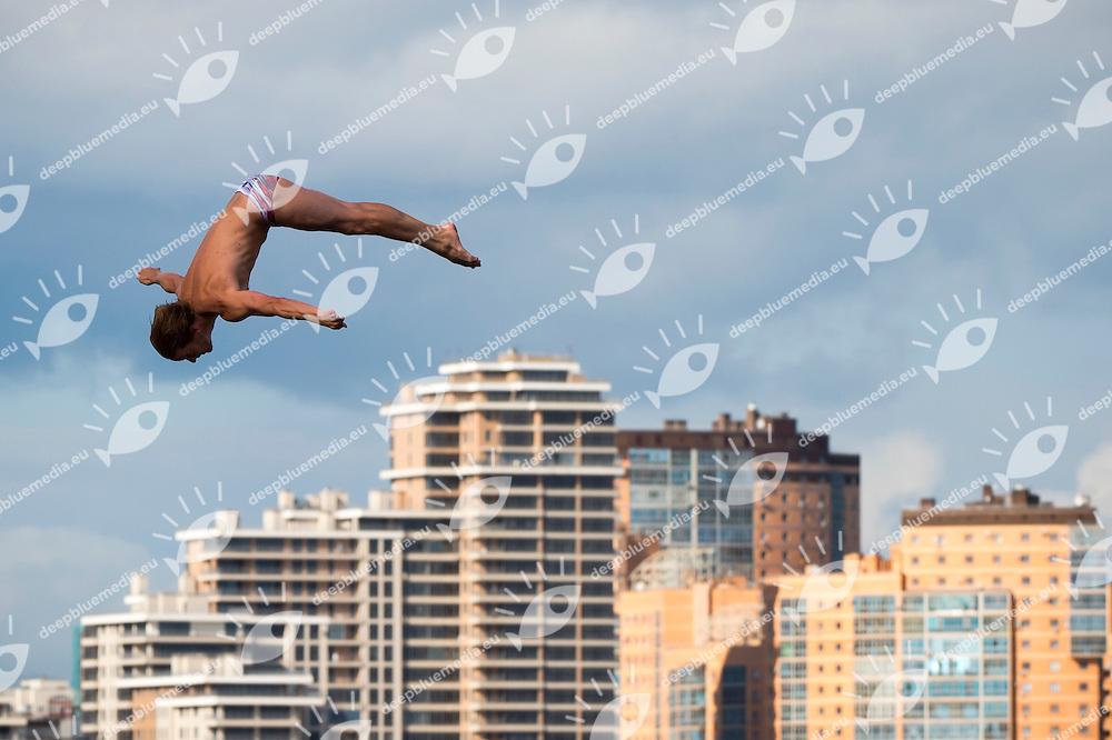 HUNT Gary GBR gold medal<br /> High Diving - Men's 27m final<br /> Day 13 05/08/2015<br /> XVI FINA World Championships Aquatics Swimming<br /> Kazan Tatarstan RUS July 24 - Aug. 9 2015 <br /> Photo Giorgio Perottino/Deepbluemedia/Insidefoto