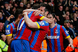 Glenn Murray of Crystal Palace is hugged by Scott Dann as he celebrates scoring a goal to make it 1-0 - Photo mandatory by-line: Rogan Thomson/JMP - 07966 386802 - 06/04/2015 - SPORT - FOOTBALL - London, England - Selhurst Park - Crystal Palace v Manchester City - Barclays Premier League.