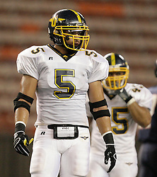 Photo by Eugene Tanner..Manti Te'o (5) outside linebacker for Punahou looks over to the sidelines between plays while taking on Saint Louis Saturday September 13, 2008 at the Aloha Stadium. Te'o is one of the top high school recruits in the country...