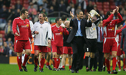 LIVERPOOL, ENGLAND - SUNDAY MARCH 27th 2005: Liverpool Legends' Jan Mølby, Kenny Dalglish and Alan Hansen after beating the Celebrity XI 6-2 during the Tsunami Soccer Aid match at Anfield. (Pic by David Rawcliffe/Propaganda)
