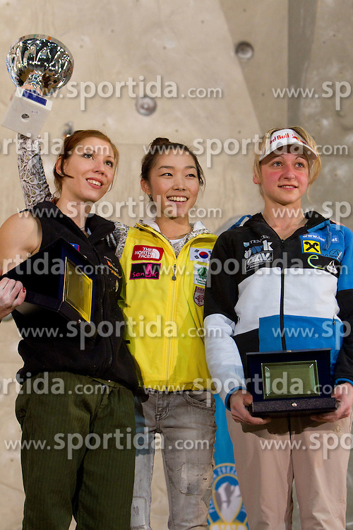 Overall lead second placed Mina Markovic of Slovenia, winner Jain Kim of Korea and third placed Angela Eiter of Austria at medal ceremony during Final IFSC World Cup Competition in sport climbing Kranj 2010, on November 14, 2010 in Arena Zlato polje, Kranj, Slovenia. (Photo By Vid Ponikvar / Sportida.com)