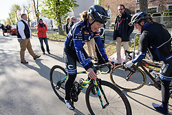 Emilie Moberg tries out some new wheels at La Flèche Wallonne Femmes - a 120 km road race starting and finishing in Huy on April 19 2017 in Liège, Belgium.