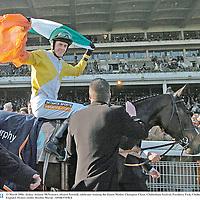 15 March 2006; Jockey Andrew McNamara, aboard Newmill, celebrates winning the Queen Mother Champion Chase. Cheltenham Festival, Prestbury Park, Cheltenham, England. Picture credit: Bendan Moran / SPORTSFILE