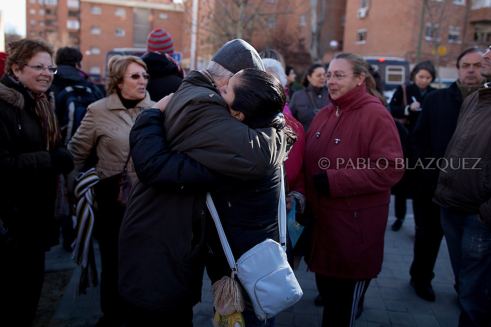 Patricia Tapia embraces people while thanking them for supporting her as she received permission to stay in her apartment for another month on February 15, 2012 in Madrid, Spain. Tapia, an unemployed Ecuadorian mother of two, used to work at a mailing company but when she was six months pregnant the employer decided not to renew her contract and she could not afford to pay her mortgage. The anti-eviction organization 'Platform for People Affected by Mortgages' in Spain has called for a permanent halt to the evictions of families who are struggling to pay their debts because of the poor economic climate.