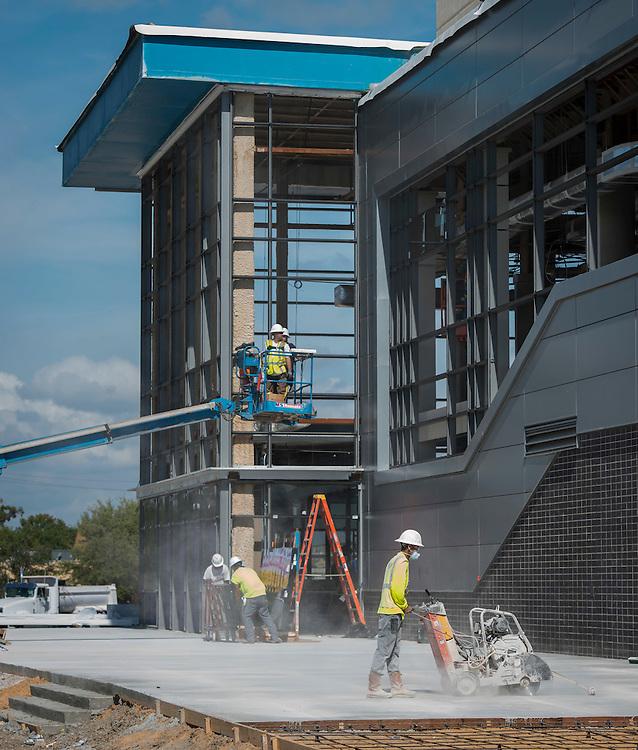 Construction at Delmar-Tusa Fieldhouse, October 13, 2016.