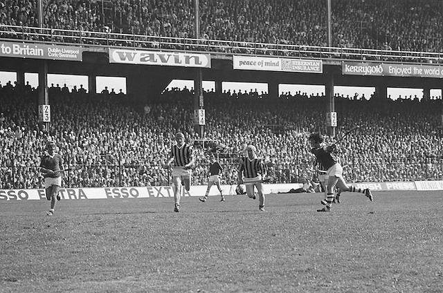 Cork plays hits the ball down field during at the All Ireland Senior Hurling Final, Cork v Kilkenny in Croke Park on the 3rd September 1972. Kilkenny 3-24, Cork 5-11.