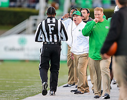 Nov 25, 2017; Huntington, WV, USA; Marshall Thundering Herd head coach Doc Holliday argues a call during the third quarter against the Southern Miss Golden Eagles at Joan C. Edwards Stadium. Mandatory Credit: Ben Queen-USA TODAY Sports