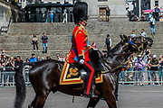 His Royal Highness the Duke of York, Prince Andrew (pictured riding down the Mall) -  reviews the final rehearsal for the Trooping the Colour on Horseguards Parade and the Mall.