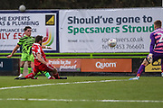 Forest Green Rovers Matty Stevens(9) shoots at goal misses the target during the EFL Sky Bet League 2 match between Forest Green Rovers and Scunthorpe United at the New Lawn, Forest Green, United Kingdom on 7 December 2019.