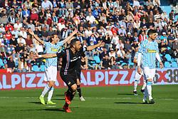 """Foto LaPresse/Filippo Rubin<br /> 03/03/2019 Ferrara (Italia)<br /> Sport Calcio<br /> Spal - Sampdoria - Campionato di calcio Serie A 2018/2019 - Stadio """"Paolo Mazza""""<br /> Nella foto: ESULTANZA GOAL FABIO QUAGLIARELLA (SAMPDORIA)<br /> <br /> Photo LaPresse/Filippo Rubin<br /> March 03, 2019 Ferrara (Italy)<br /> Sport Soccer<br /> Spal vs Sampdoria - Italian Football Championship League A 2018/2019 - """"Paolo Mazza"""" Stadium <br /> In the pic: CELEBRATION GOAL FABIO QUAGLIARELLA (SAMPDORIA)"""