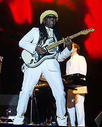 © Licensed to London News Pictures. 07/09/2014. Isle of Wight, UK. Chic featuring Nile Rodgers performing live at Bestival 2014 Day 4 Sunday the festivals final day.  This weekend's headliners include Chic featuring Nile Rodgers, Foals and Outcast.   Bestival is a four-day music festival held at the Robin Hill country park on the Isle of Wight, England. It has been held annually in late summer since 2004.    Photo credit : Richard Isaac/LNP