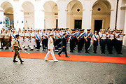Italian Prime Minister Giuseppe Conte arriving at the internal court of Chigi Palaca to partecipate at the bell ceremony, marking the start of the new Cabinet's first meeting in Rome on September 5, 2019.
