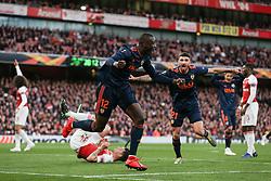Mouctar Diakhaby of Valencia celebrates scoring to make it 0-1 - Mandatory by-line: Arron Gent/JMP - 02/05/2019 - FOOTBALL - Emirates Stadium - London, England - Arsenal v Valencia - UEFA Europa League Semi-Final 1st Leg