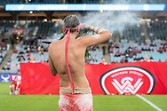 SYDNEY, AUSTRALIA - MARCH 30: An Aboriginal dancer walks onto the pitch as part of the multicultural festivities during round 23 of the Hyundai A-League Soccer between Western Sydney Wanderers FC and Melbourne City FC on March 30, 2019 at ANZ Stadium in Sydney, Australia. (Photo by Speed Media/Icon Sportswire)