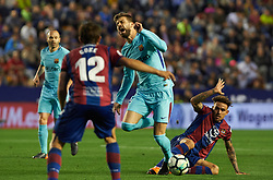 May 13, 2018 - Valencia, Valencia, Spain - Roger Marti of Levante UD and Gerard Pique of FC Barcelona during the La Liga match between Levante and FC Barcelona, at Ciutat de Valencia Stadium, on may 13, 2018  (Credit Image: © Maria Jose Segovia/NurPhoto via ZUMA Press)