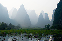 Amazing limestone karst mountains dominate the countryside in Guangxi province, China.