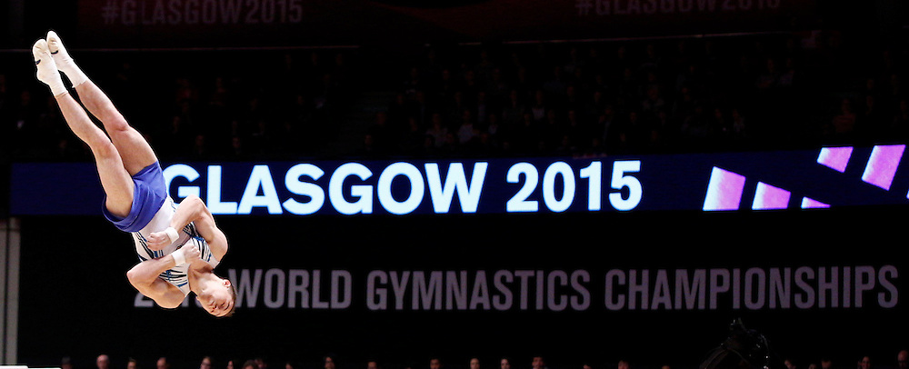 2015 Artistic Gymnastics World Championships being held in Glasgow from 23rd October to 1st November 2015.....Oleg Verniaiev (Ukraine) performs in the Floor Exercise routine in the Men's All-Round Final...(c) STEPHEN LAWSON | SportPix.org.uk