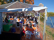 Cambridge. MA. USA. General view from the Cambridge Boathouse balcony of the Directors enclosure, hospitality, during the 49th edition of the Head of the Charles. went on to win their event.<br /> <br /> 12:46:14  Sunday  20/10/2013   <br /> <br /> [Mandatory Credit. Peter SPURRIER /Intersport Images]