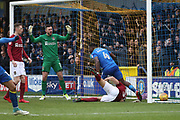 AFC Wimbledon defender Deji Oshilaja (4) celebrating after scoring goal to make it 1-1 during the EFL Sky Bet League 1 match between AFC Wimbledon and Northampton Town at the Cherry Red Records Stadium, Kingston, England on 10 February 2018. Picture by Matthew Redman.