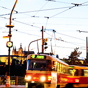 Prague's trams in the evening