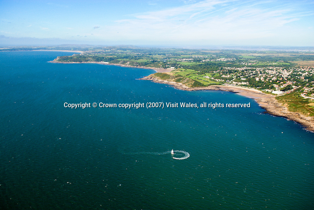 Langland Bay<br /> Sailing<br /> Aerial<br /> Gower Peninsula<br /> South<br /> Activities &amp; Sports