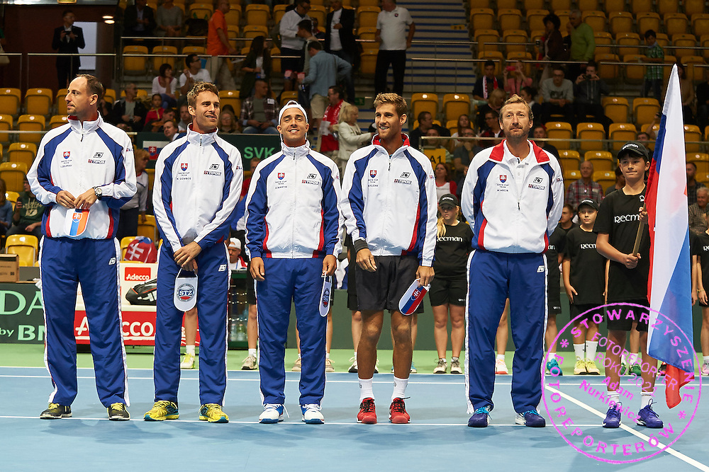 (L-R) Igor Zelenay and Norbert Gombos and Andrej Martin and Martin Klizan all of Slovakia while opening ceremony during Davis Cup Tie World Group Play-off Poland v Slovakia at Gdynia Arena Hall in Gdynia, Poland.<br /> <br /> Poland, Gdynia, September 18, 2015<br /> <br /> Picture also available in RAW (NEF) or TIFF format on special request.<br /> <br /> For editorial use only. Any commercial or promotional use requires permission.<br /> <br /> Adam Nurkiewicz declares that he has no rights to the image of people at the photographs of his authorship.<br /> <br /> Mandatory credit:<br /> Photo by &copy; Adam Nurkiewicz / Mediasport