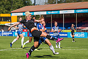 Millie Bright (Chelsea) attempt at goal during the FA Women's Super League match between Brighton and Hove Albion Women and Chelsea at The People's Pension Stadium, Crawley, England on 15 September 2019.