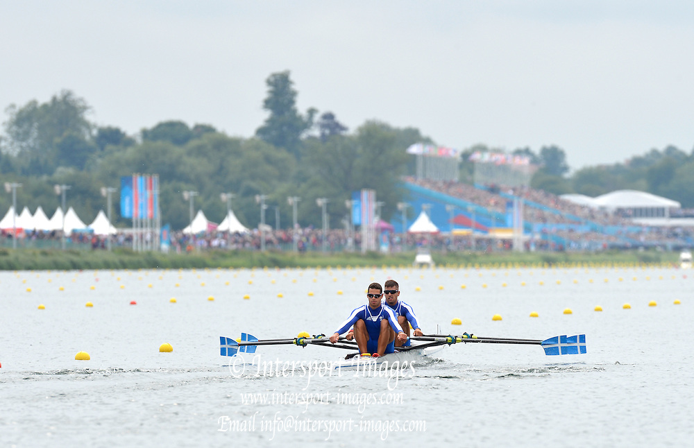 Eton Dorney, Windsor, Great Britain,..2012 London Olympic Regatta, Dorney Lake. Eton Rowing Centre, Berkshire[ Rowing]...Description;   GRE LM2X.  Bow. Eleftherios KONSOLAS and Panagiotis MAGDANIS,  move away from the start of their Repechage, Dorney Lake. 10:35:22  Tuesday  31/07/2012 [Mandatory Credit: Peter Spurrier/Intersport Images]  .