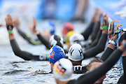 Lara Grangeon, David Aubry, Lisa Pou and Marc Antoine Olivier for France compete and win the Bronze medal on 5 km Mixed team relais Open Water during the Swimming European Championships Glasgow 2018, at Tollcross International Swimming Centre, in Glasgow, Great Britain, Day 10, on August 11, 2018 - Photo Stephane Kempinaire / KMSP / ProSportsImages / DPPI