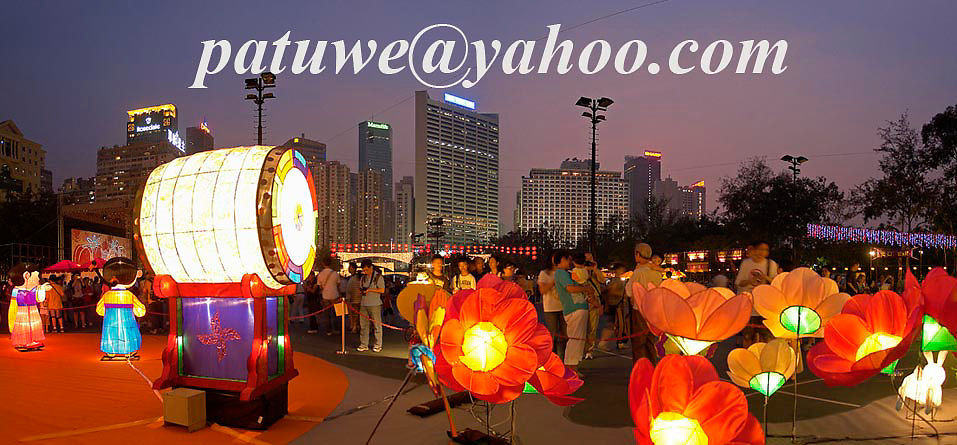 Lanterns decoration during Mid Autumn festival or Moon festival in Victoria park, Causeway Bay , Hong Kong, China.