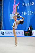 Zhang Doudou during qualifying at ball in Pesaro World Cup at Adriatic Arena on 10 April 2015. Doudou was born on July 23, 1996 in Taiyuan. She is a Chinese individual rhythmic gymnast.