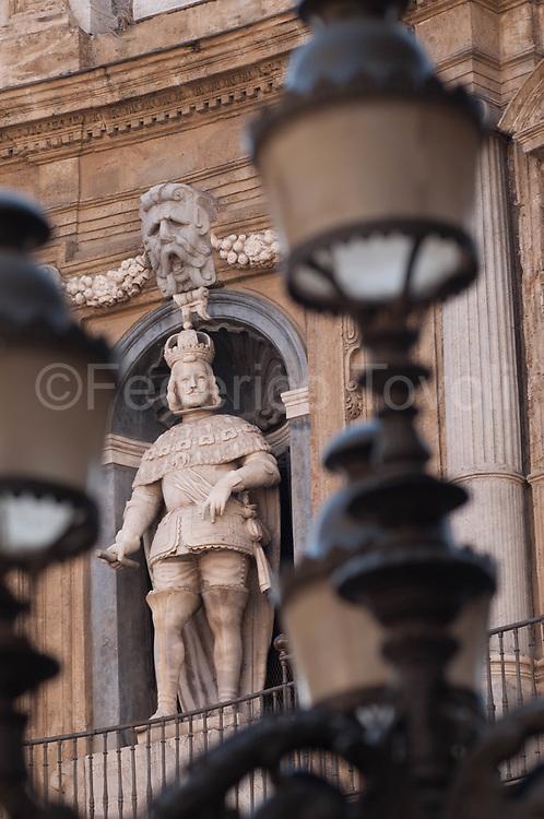 A statue of the Quattro Canti complex