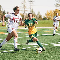 4th year defender, Brigit Sinaga (24) of the Regina Cougars during the Women's Soccer home game on Sun Sep 09 at U of R Field. Credit: Arthur Ward/Arthur Images