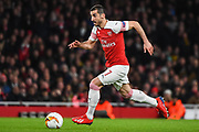 Arsenal Midfilder Henrikh Mkhitaryan (7) in action during the Europa League round of 16, leg 2 of 2 match between Arsenal and Rennes at the Emirates Stadium, London, England on 14 March 2019.