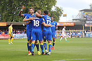 AFC Wimbledon celebrate during the EFL Sky Bet League 1 match between AFC Wimbledon and Gillingham at the Cherry Red Records Stadium, Kingston, England on 1 October 2016. Photo by Stuart Butcher.