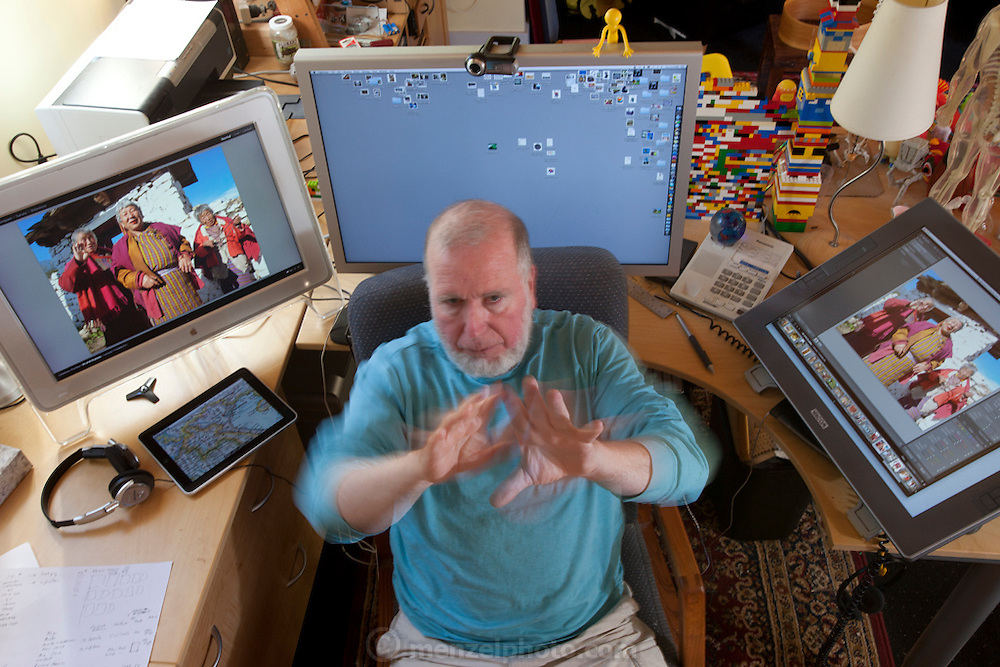 Kevin Kelly, in his home office in Pacifica, California.<br /> Senior Maverick for Wired.&nbsp;&nbsp;&nbsp;&nbsp;<br /> Author of What Technology Wants.