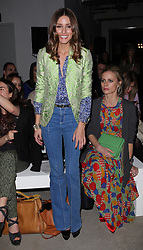 Third outfit of the day  before 6pm for Olivia Palermo at the Jonathan Saunders show  at London Fashion Week A/W 2012. Sunday ,19th February 2012. Photo by: Stephen Lock / i-Images