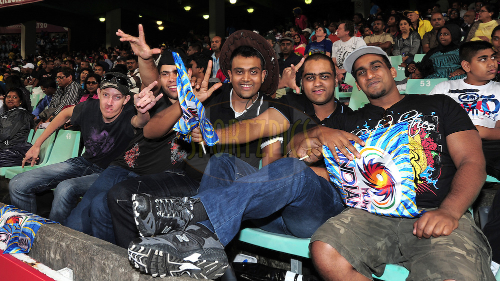 Supporters during match 18 of the Karbonn Smart CLT20 South Africa between The Sydney Sixers and The Mumbai Indians held at Kingsmead Park in Durban, South Africa on the 22nd October 2012..Photo by Gerhard Duraan/SPORTZPICS/CLT20