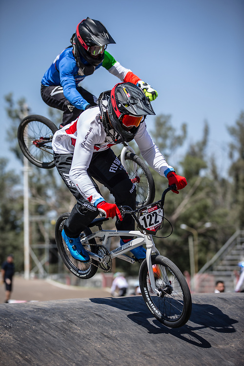 #122 (TOUGAS Alex) CAN at round 8 of the 2018 UCI BMX Supercross World Cup in Santiago del Estero, Argentina.