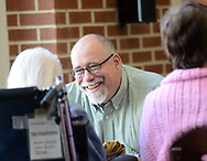 Chaplain Blaik Westhoff (cq) smiles as he chats with Ruth Beer, 94, during Spirit Alive, a religious service for people with dementia that incorporates Montessori principles Wednesday, June 28, 2017 at Meadow Glen Personal Care in Richlandtown, Pennsylvania. (WILLIAM THOMAS CAIN / For The Philadelphia Inquirer)