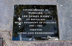 © Licensed to London News Pictures. 03/11/2018. London, UK. An unofficial memorial stone has been installed on the pavement near to where soldier Lee Rigby of the Royal Regiment of Fusiliers was murdered in 2013. He was attacked and killed by Michael Adebolajo and Michael Adebowale near the Royal Artillery Barracks in Woolwich. A group called 5 wishes installed in the stone in a covert operation last night posting a video here https://www.youtube.com/watch?v=p8fJ1WZgjmM.   Photo credit: Chris Mansfield/LNP
