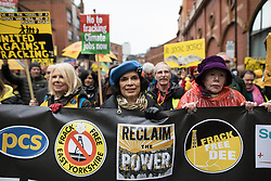 © Licensed to London News Pictures . 12/11/2016 . Manchester , UK . BIANCA JAGGER (c) . Approximately 2000 people march and rally against Fracking in Manchester City Centre . Photo credit : Joel Goodman/LNP